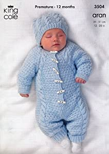 Knitted All In One Baby Suit Pattern : King Cole Baby All-In-One Comfort Aran Knitting Pattern 3504: Amazon.co.uk: K...