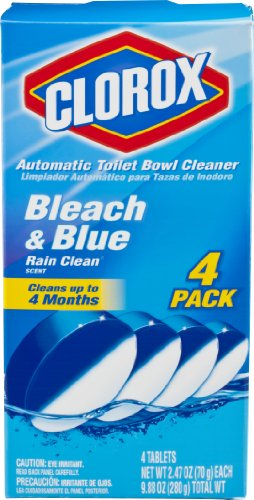 Clorox Automatic Toilet Bowl Cleaner, Bleach And Blue, Rain Clean Scent, 2.47 Oz, 4 Count front-587565