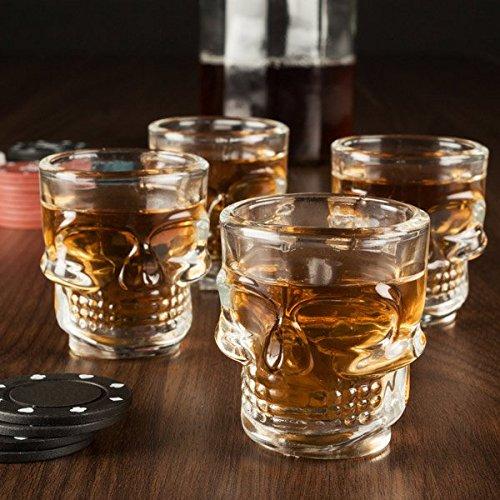 Set di 4 Chupitos bicchierini liquore con rilevo a forma di TESCHIO ideale per feste party - Idea Regalo