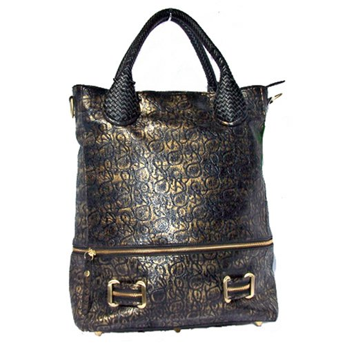 Betty Black and Gold Vertical Womens Designer Laptop Bag by Kerri Mack