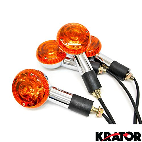 Krator Motorcycle 4 pcs Amber Round Turn Signals Lights For Kawasaki VN Vulcan Classic Nomad Drifter 1500 (Oem Motorcycle Parts compare prices)