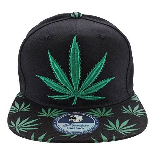 Enimay-Weed-Marijuana-Pot-Leaf-Snapback-Hat-Big-Leaf-Black-Green