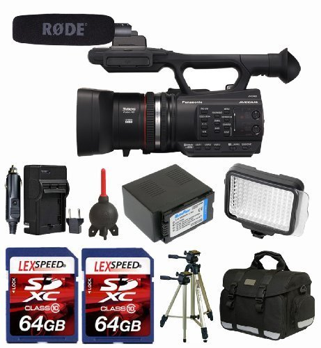 Panasonic AG-AC90 AVCCAM HD Camcorder Deluxe Kit + Rode NTG1 Mic + LED + 2x 64GB Memory Cards + Camcorder Case + Tripod + Battery + Travel Charger