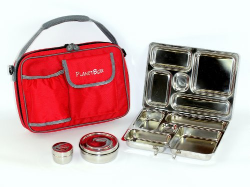 PlanetBox Lunchbox - Red Carry Bag with Wheelies Magnets - Waste Free Metal Lunchbox -