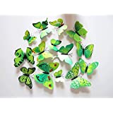 Cutelyn Decor Sticker 3D Butterfly 12PCS Removable Mural Wall Stickers Wall Decal For Home Decor (Green)