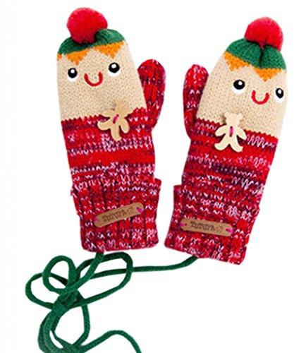 C-Princessニットミトン 手袋 グローブ 子供用 キッズ ベビー 女の子 男の子 秋冬 防寒 あったかい 可愛い キュート カラフル (Dレッド)
