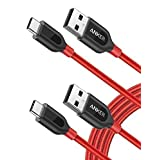 Anker [2-Pack, 6ft] PowerLine+ USB-C to USB-A, Double-Braided Nylon Fast Charging Cable, for Samsung Galaxy S9/S9+/S8/S8+/Note 8, MacBook, LG V20/G5/G6, and More (Red)