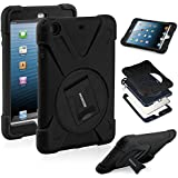 HAOCOO X-Defense Series Heavy Duty Full Shockproof Body Rugged Hybrid Protective Case Cover with Built-in Screen Protector [360 Degree Rotatable] [Multi-Adjustable Stand]for iPad mini 3/ iPad mini 2/ iPad mini,Black