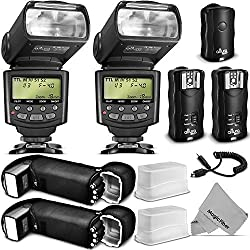Professional Flash Kit for CANON Rebel T5i T4i T3i T3 T2i T1i SL1, EOS 700D 650D 600D 1100D 550D 500D 100D DSLR Cameras, Canon EOS M Compact Cameras - Includes: 2 Altura Photo E-TTL Auto-Focus Dedicated Flashes + Wireless Camera Flash Trigger and Camera R