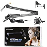 Neewer® Black NW-35 Metal Suspension Boom Scissor Arm Stand with Built-in XLR Male to Female Cable, Shock Mount and Table Mounting Clamp
