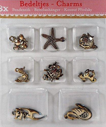 8er Set Charms Bettelarmband Anhänger Tiere 2 - 3 cm Metall Figur Deko GAC B73