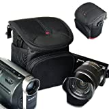 First2savvv stylish heavy duty black Nylon camera case bag for Nikon COOLPIX P7700 COOLPIX P500 COOLPIX L610 1S1 1J1 1J2 1J3 1v1 1v2 Canon PowerShot G12 PowerShot G11 PowerShot G1 X PowerShot G15 EOS M / Sony NEX 3 NEX 5 NEX 5N NEX 7 NEX C3 NEX F3 DSC-RX