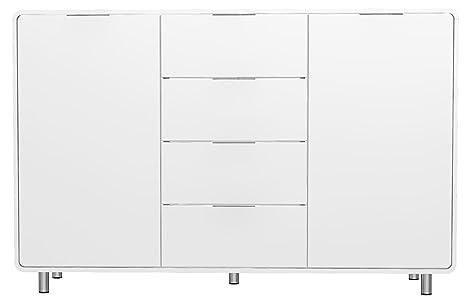 Tenzo 8436-001 Step - Designer Sideboard weiß, MDF lackiert matt, Griffe und Fuße aus Metall, 101 x 161 x 44 cm