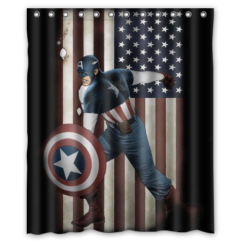 Custom Unique Design Cartoon Anime Superhero Captain America Waterproof Fabric Shower Curtain, 72 By 60-Inch front-301823