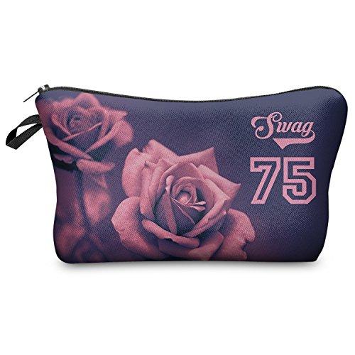 Kosmetiktasche molti modelli Federmappe caso cerniera borsa da toeletta del sacchetto di trucco borsa cerniera stampa completa All Over cosmetici Bag, Swag Roses (Multicolore) - MUBFP