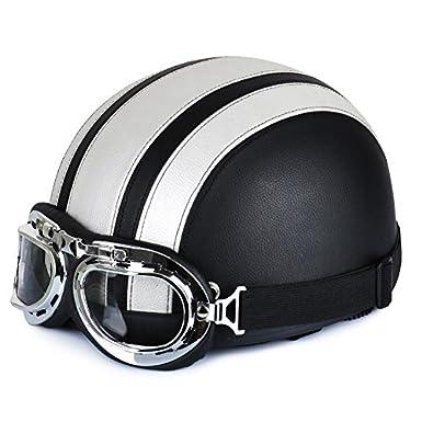 Annong Casque de Moto et Velo Bol Lunettes Retro Style de Vintage Cuir Harley Casque Moitié Helmets 54-60cm (Argent)