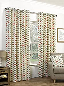 """Orange Beige Leaves 66x54"""" 168x137cm Cotton Blend Lined Ring Top Curtains Drapes from Curtains"""