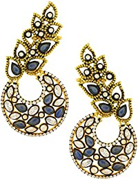 The Jewelbox Designer Flower Kundan Sapphire Blue Gold Plated Chaand Bali Ear Cuff Earring For Women