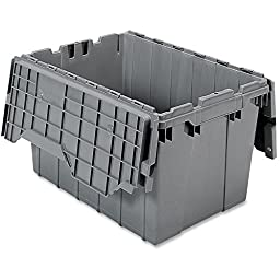 Akro-Mils 39120 Plastic Storage and Distribution Container Tote with Hinged Lid, 21.5-Inch L by 15-Inch W by 12.5-Inch H, Grey, Case of 6