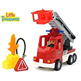 Little Treasures Fire Truck Play Set With Fire Fighter And Toy Fire All Interchangeable Tight Fit Bricks With...
