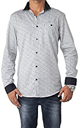 Passion Men's Slim Fit Casual Shirt (FS4961SNLFS, White, Small)