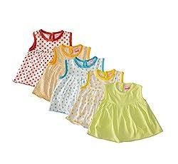 Myfaa Baby Girls' Dress, Set of 5 (White, 0-3 Months)