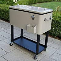 Steel 80qt Patio Cooler with Cart by Oakland Living