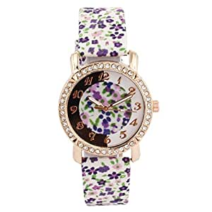 Cosmic Blue and green Flower Strap With Flower Dial Designer Watch For Women