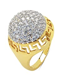 5.10 Grams White Cubic Zirconia Gold Plated Brass Ring - B00XC2LL42
