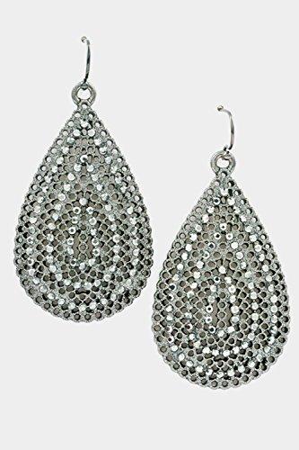 Glitz Finery Filigree Tear Drop With Beads Dangle Earring (Hematite)