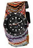 ToyWatch Womens Jelly Black Dial Multicolor Fabric Wraparound