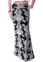 LeggingsQueen Women's High Waisted Rayon Spandex Printed Maxi Skirt