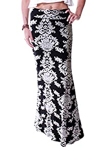 LeggingsQueen Women's High Waisted Rayon Spandex Printed Maxi Skirt