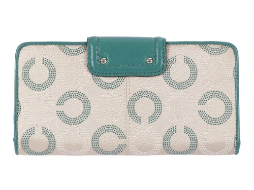 Coach   Coach Ashley Dotted Op Art Slim Envelope Wallet Khaki/Aegean