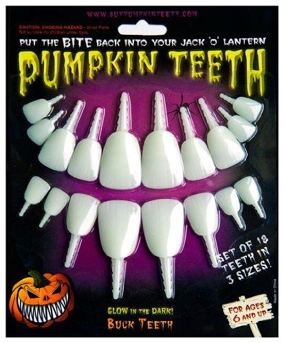 Halloween Pumpkin Carving Kit - Pumpkin Teeth for your Jack O' Lantern - Set of 18 Glow in the Dark Buck Teeth