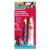 Petrodex Sm-Md Dog Poultry Toothpaste Tooth-Hugger Care Kit, 2 Toothbrushes