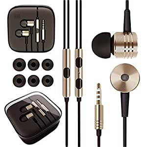 PRAVARA Piston Design Earphone Handsfree for MI Samsung HTC Apple and all other Smartphones (With free 3 extra pair of ear buds) - Golden
