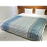 AURAVE Floral Multicolor Blue Cotton Dohar-Reversible- Single