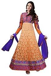 Orange color Brasso Georgette Anarkali Suit.
