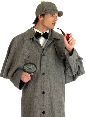 Mens Sherlock Holmes Victorian Detective Fancy Dress Costume Mens Size 46-48 X-Large