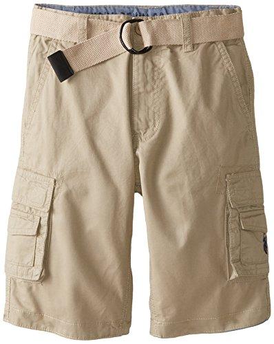 U.S. Polo Assn. Big Boys' Twill Belted Cargo Shorts, Light Khaki, 10