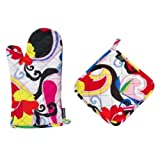 Two Lumps of Sugar Groovy Oven Mitt Potholder Set