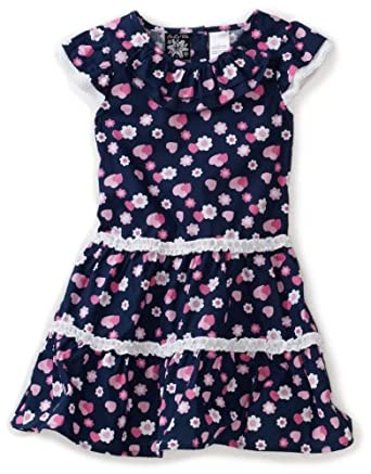So La Vita Little Girls' Toddler Heart Print Dress, Navy, 2T