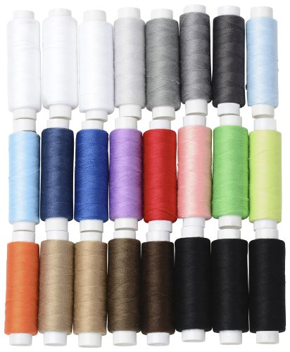 Best Prices! BYKES Set of 24 Assorted Spools of Polyester Sewing Thread Full Size 200 Yards Each
