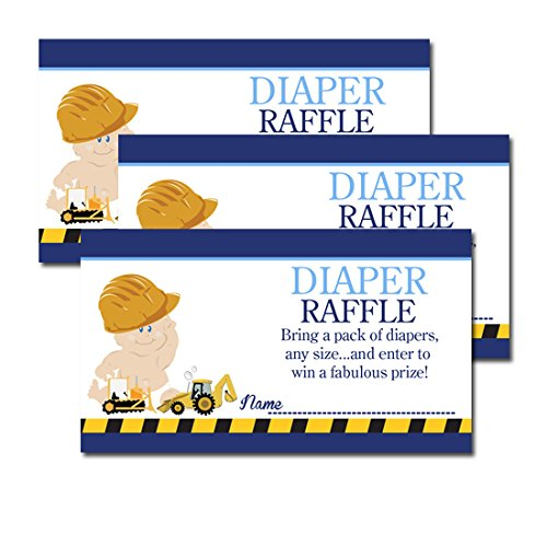 Construction Baby Boy Theme Baby Shower Diaper Raffle Tickets 20-Pack front-794458