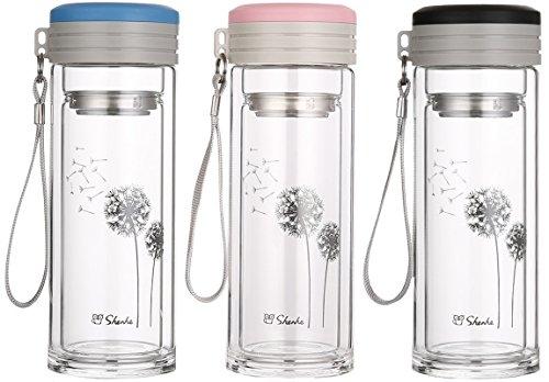 (ビュード)BeauDO 二層 耐熱ガラス ポット 青 ダブルウォール ステンレス 茶こし 日本茶 エコボトル (2.ブルー)