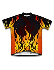 Hot Flames Short Sleeve Cycling Jersey for Women