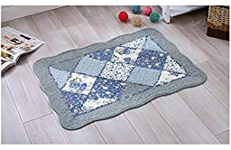Eco Hold Rug Pad Softer Than Most Rug Pads, Provides Extra Cushion, for All Hard Surfaces, Earth Friendly (20*20inches, Flower blue)