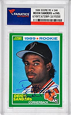 Deion Sanders Atlanta Falcons Autographed 1989 Score #246 Rookie Card with Prime Time Inscription - Fanatics Authentic Certified
