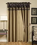Chezmoi Collection Santa Fe 4-pieces Horses Cabin Lodge Tapestry Window Curtain / Drape Set with Sheer Backing